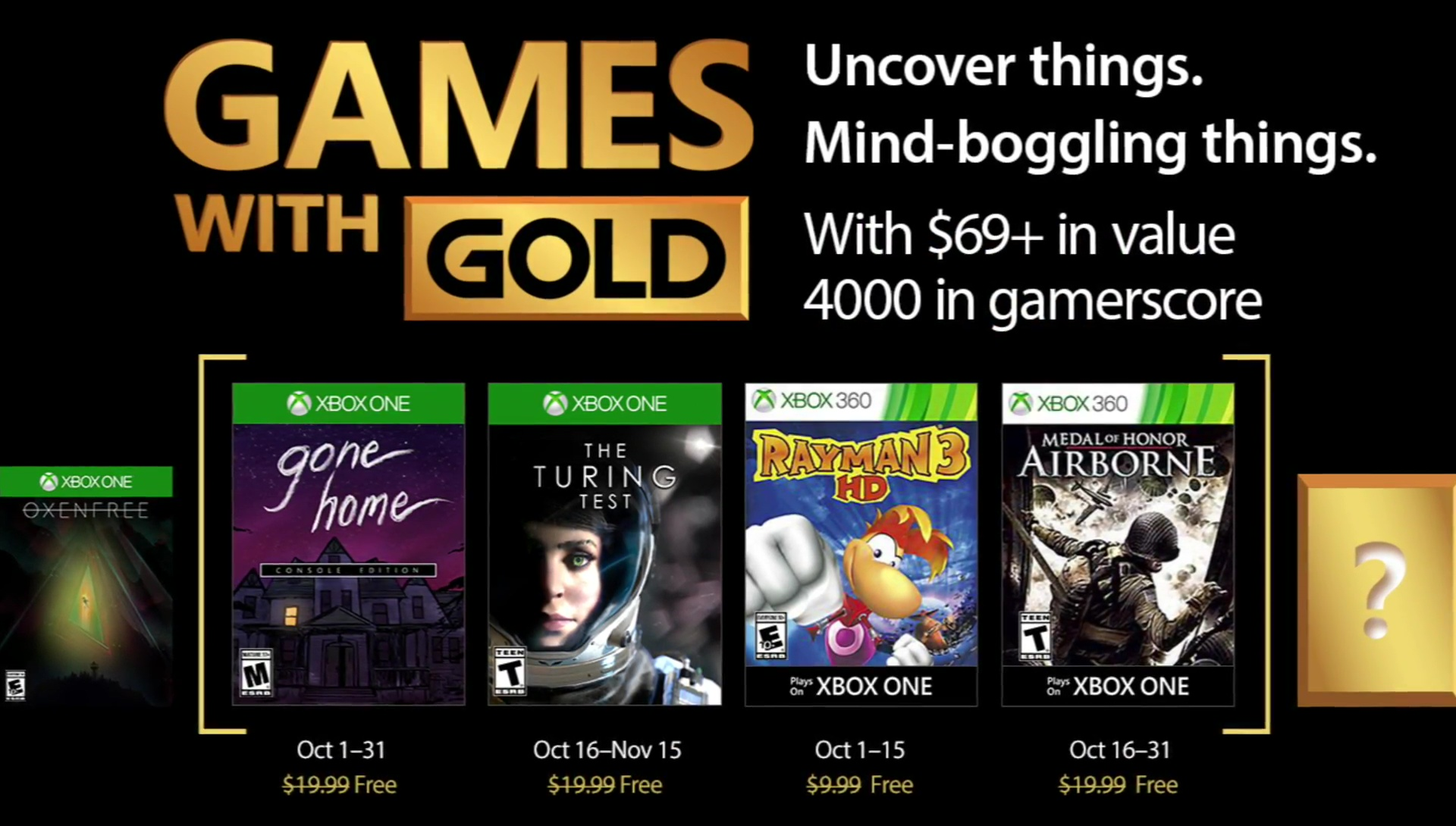Games with Gold October 2017