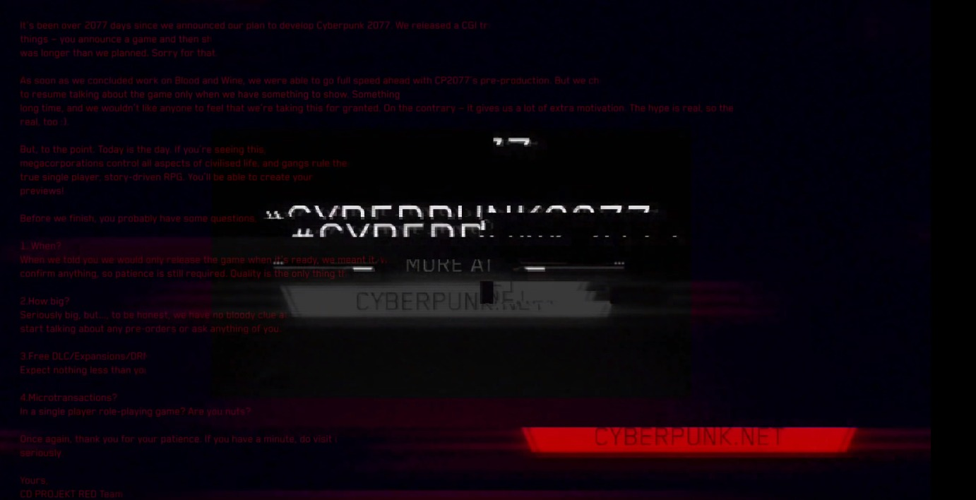 Cyberpunk 2077 trailer hidden message