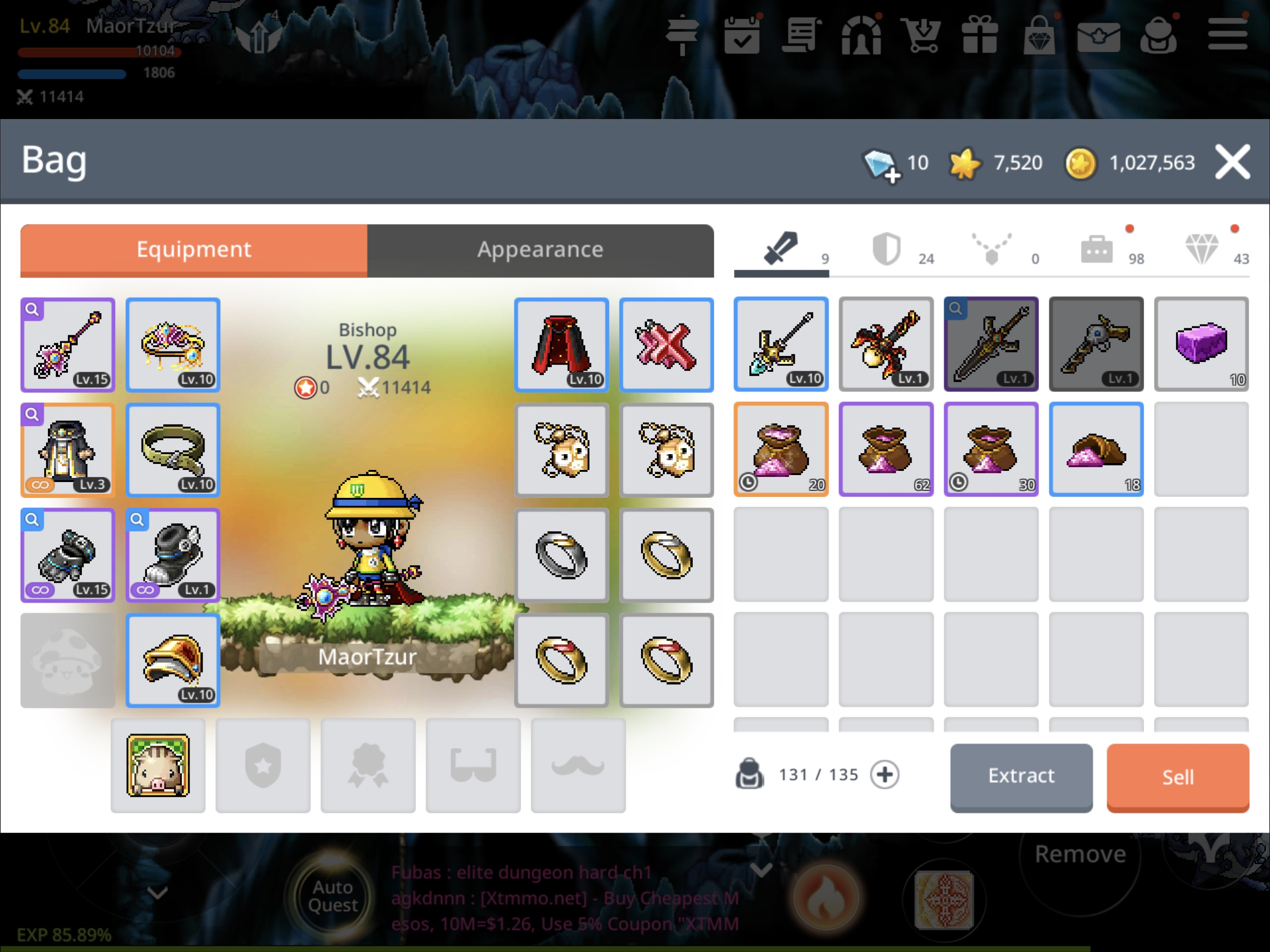 MapleStory M character inventory