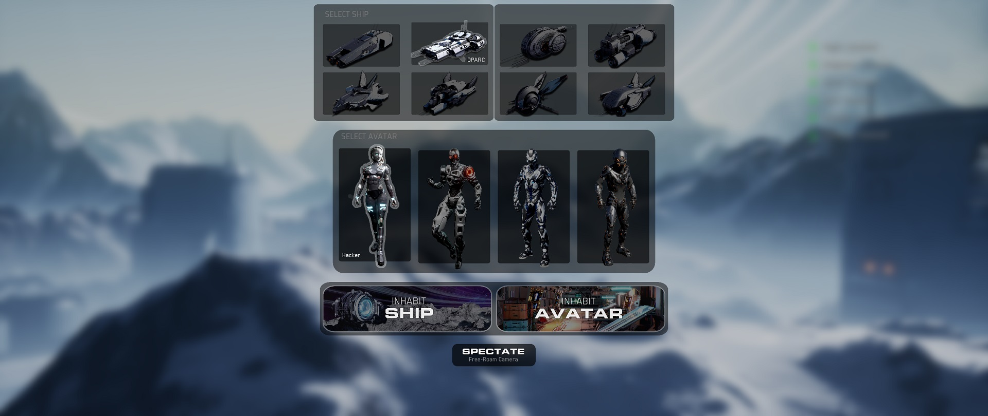 Choose between eight different ships and four avatars.