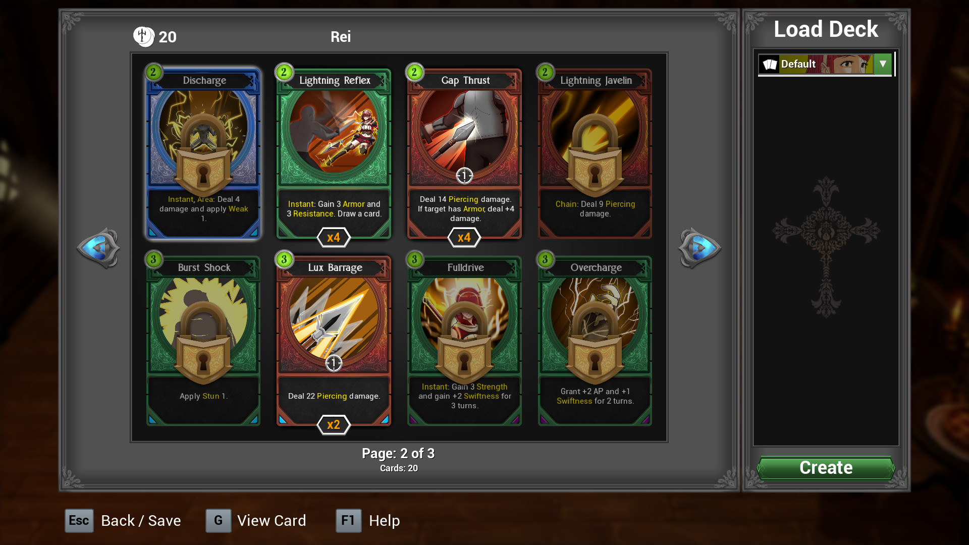Customize each character's deck.