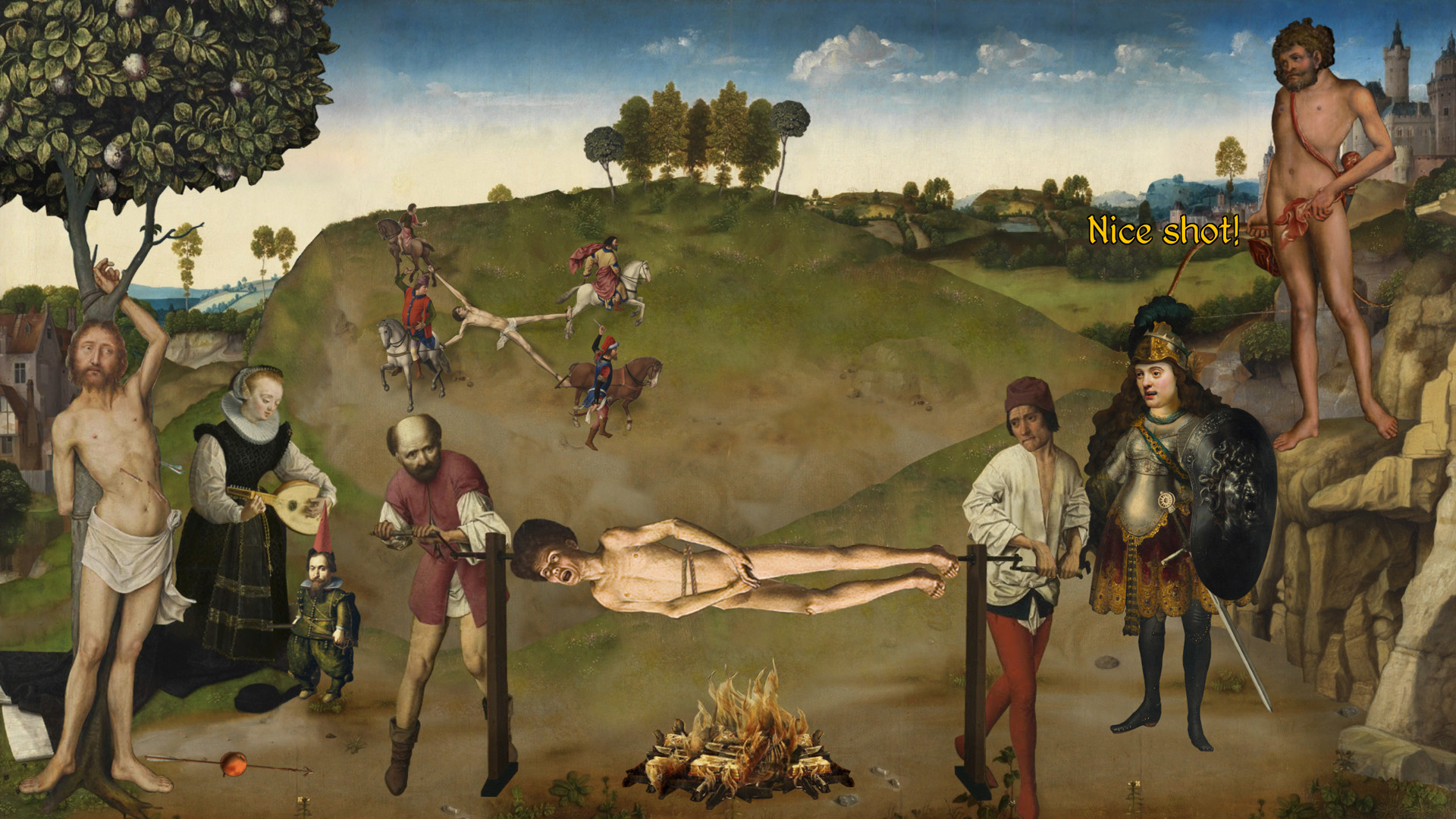 A man being slowly roasted alive.