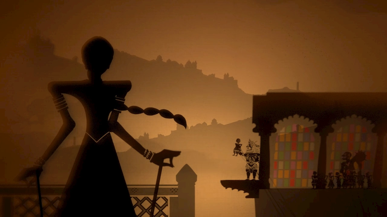 The cutscenes are in the style of a shadow puppet show