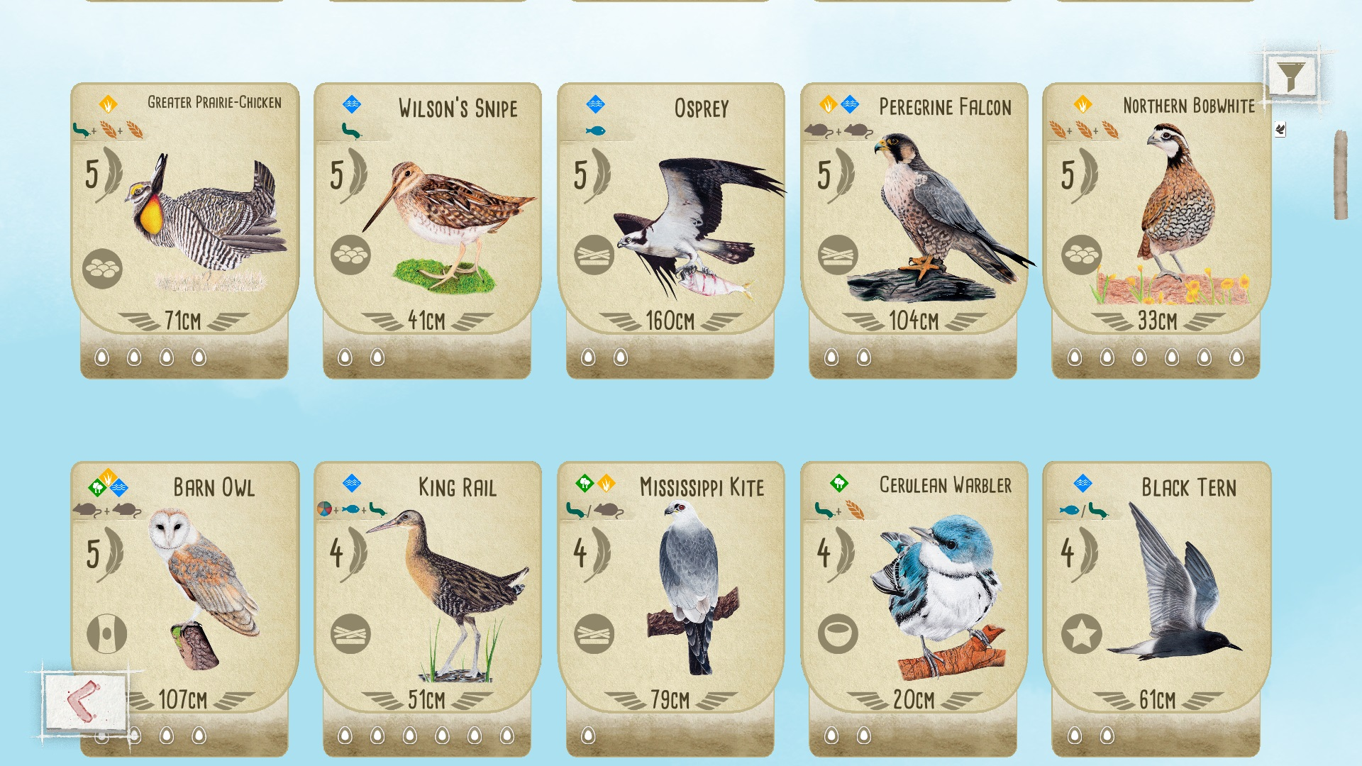 Wingspan's bird cards look amazing